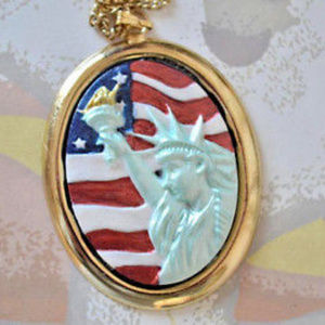 Hand Painted Statue Of Liberty Cameo Necklace